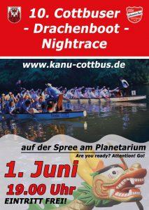 Kanu-Drachenboot: 10. Cottbuser Nightrace @ Cottbus / Spree, fließendes Gewässer mit Wende | Cottbus | Brandenburg | Deutschland